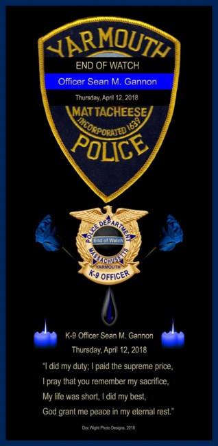 K-9 Officer Sean McNamee Gannon Obituary - Hyannis, MA